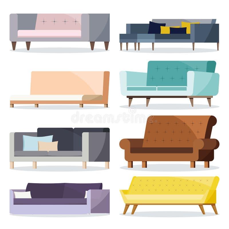 Weiches und ledernes Sofa der lokalisierten farbigen unterschiedlichen Form mit Kissenikonensatz vektor abbildung