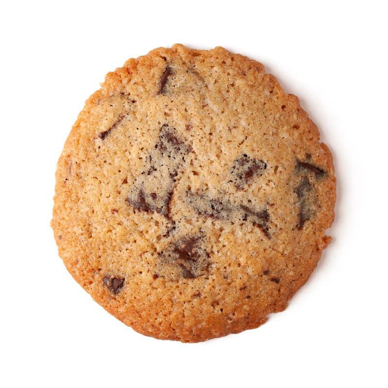 Weiches und zähes Schokoladensplitterplätzchen lokalisiert auf weißem Hintergrund lizenzfreie stockfotografie