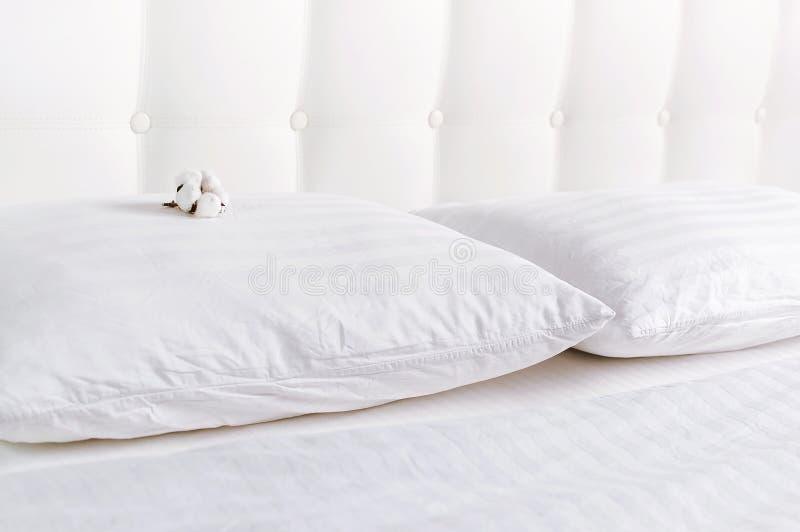 Weiches wei?es gestepptes Kissen und Baumwollblume im Bett auf dem Hintergrund der wei?en ledernen gesteppten Kopfende Sauberes K stockbilder
