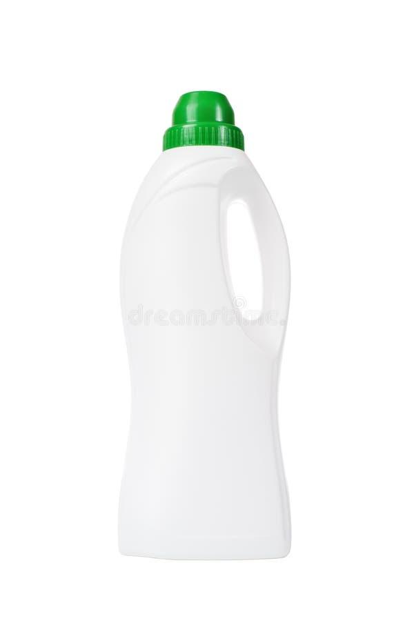 Weichmachungsmittel in der weißen Plastikflasche lokalisiert lizenzfreies stockbild