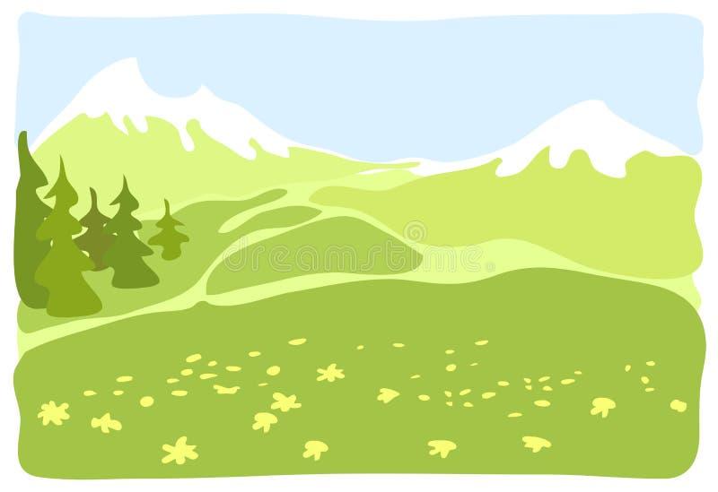 Weide in een bergvallei. royalty-vrije illustratie