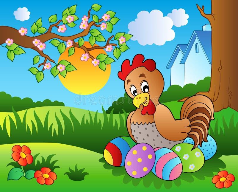 Weide met kip en Paaseieren stock illustratie