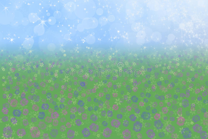 Weide van de van de achtergrond lente Bloemen de Blauwe van de Hemel stock foto's