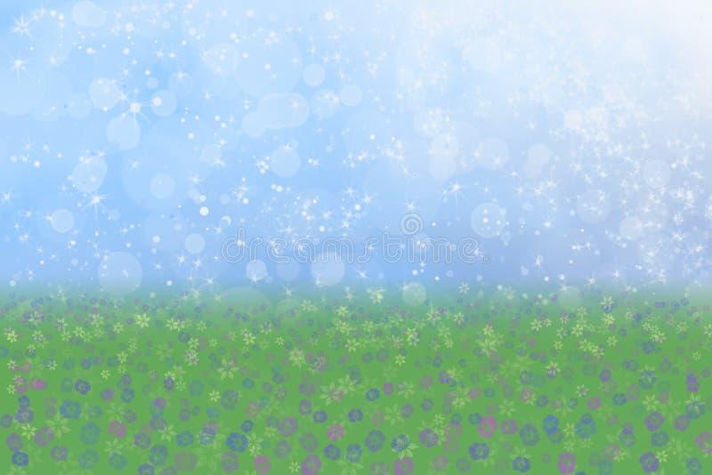 Weide van de van de achtergrond lente Bloemen de Blauwe van de Hemel royalty-vrije stock foto