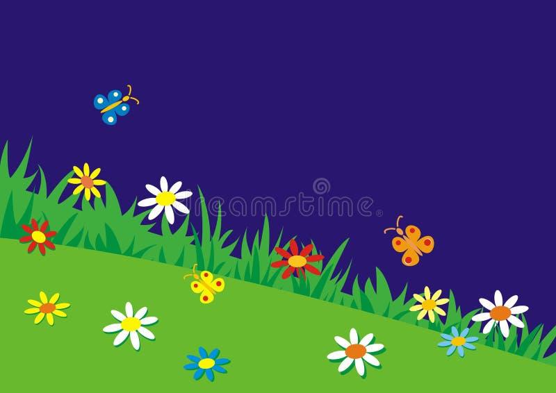 Weide, vlinders, bloemen en kevers, vectorachtergrond Abstracte prentbriefkaar, concept Gekleurde illustratie, gelukkig beeld stock illustratie