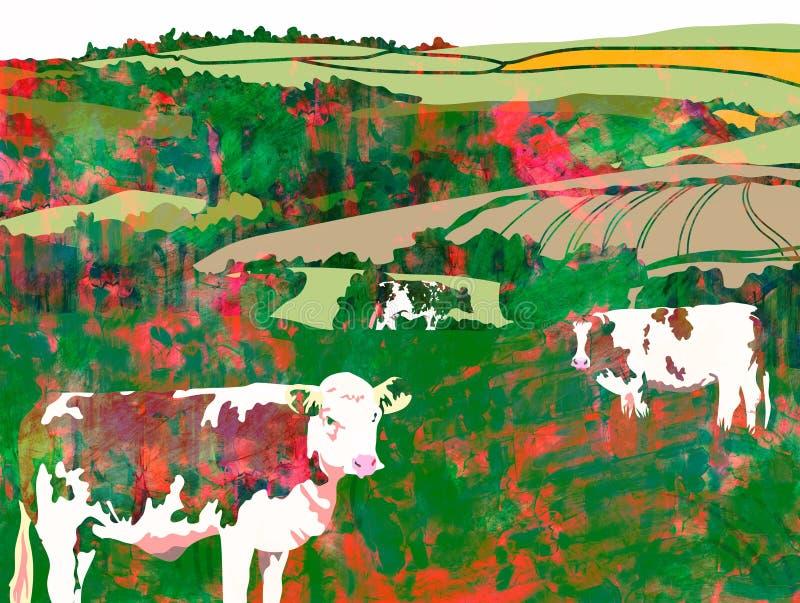 Weiden lassende watercolour-Kühe lizenzfreie abbildung