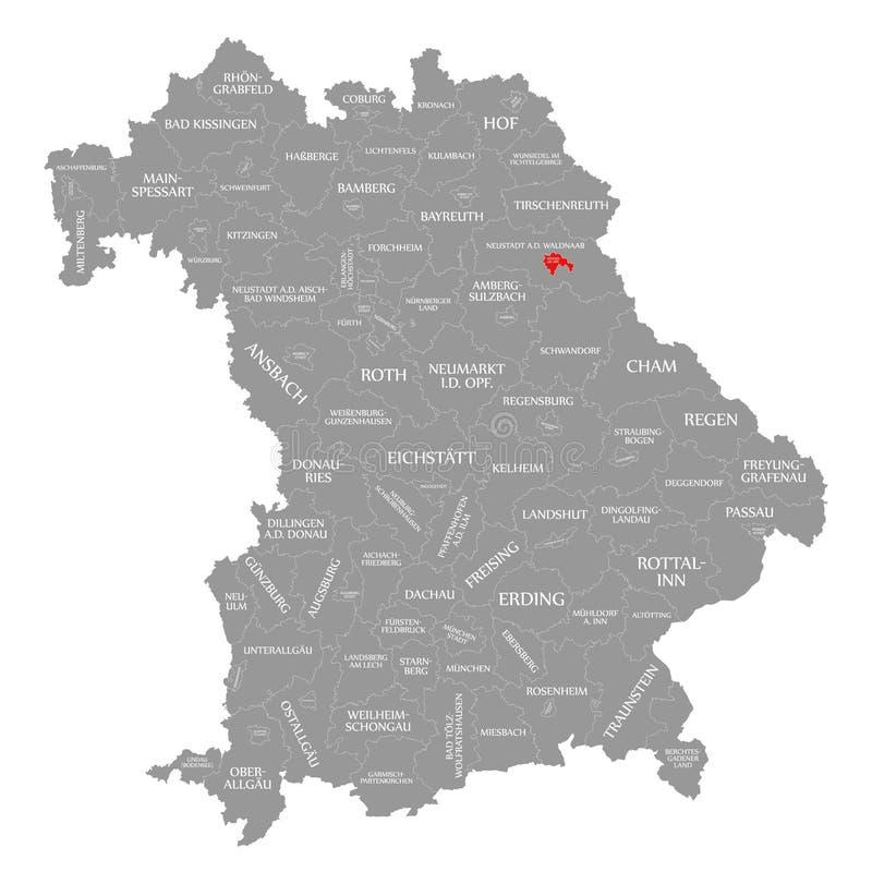Weiden w dera Oberpfalz okręgu administracyjnego czerwieni podkreślającej w mapie Bavaria Niemcy ilustracji