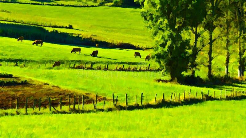 Weidende Koeien stock illustratie
