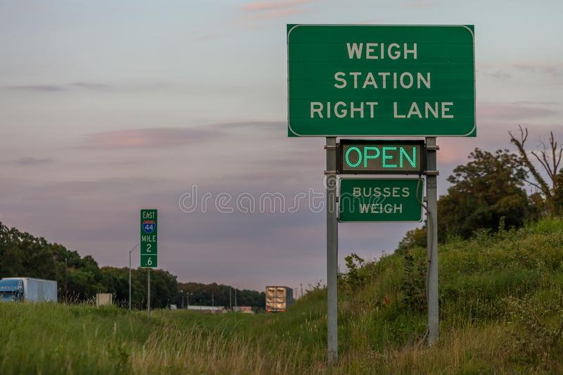 Weigh station sign on Interstate 44 in Oklahoma indicating the s royalty free stock photography