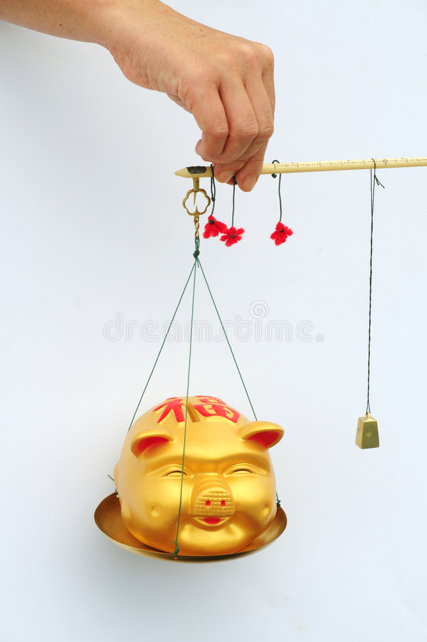 Weighing or balancing wealth. Person holding a Chinese golden pig on a set of Chinese style scales stock photography