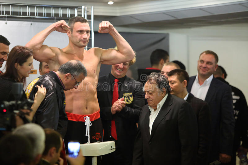 Weighing boxer Vitali Klitschko before the fight royalty free stock image