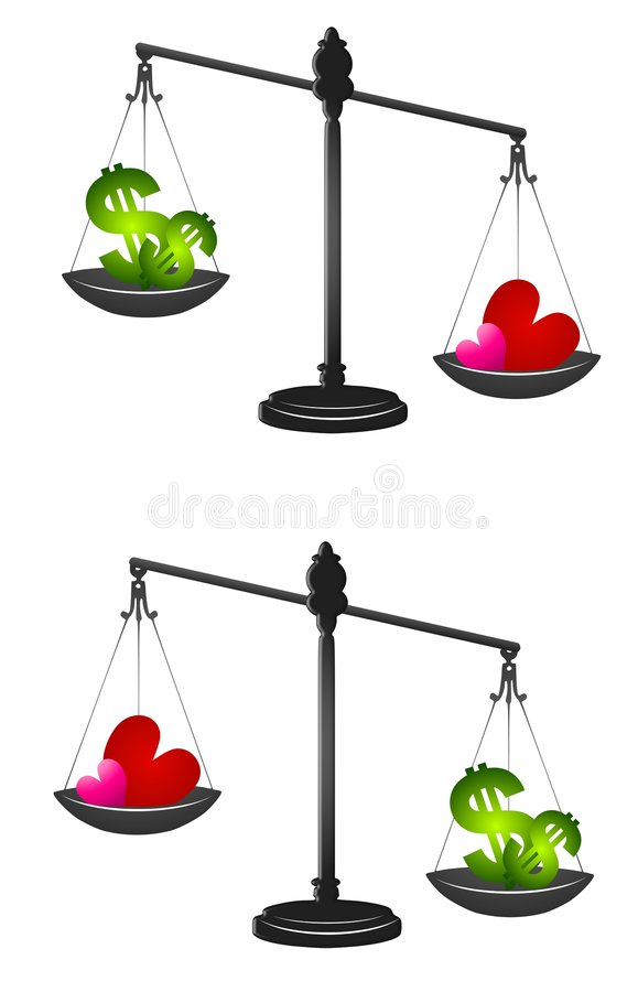 Weighing Love or Money. An illustration featuring your choice of 2 images involving the weighing of money vs. love vector illustration