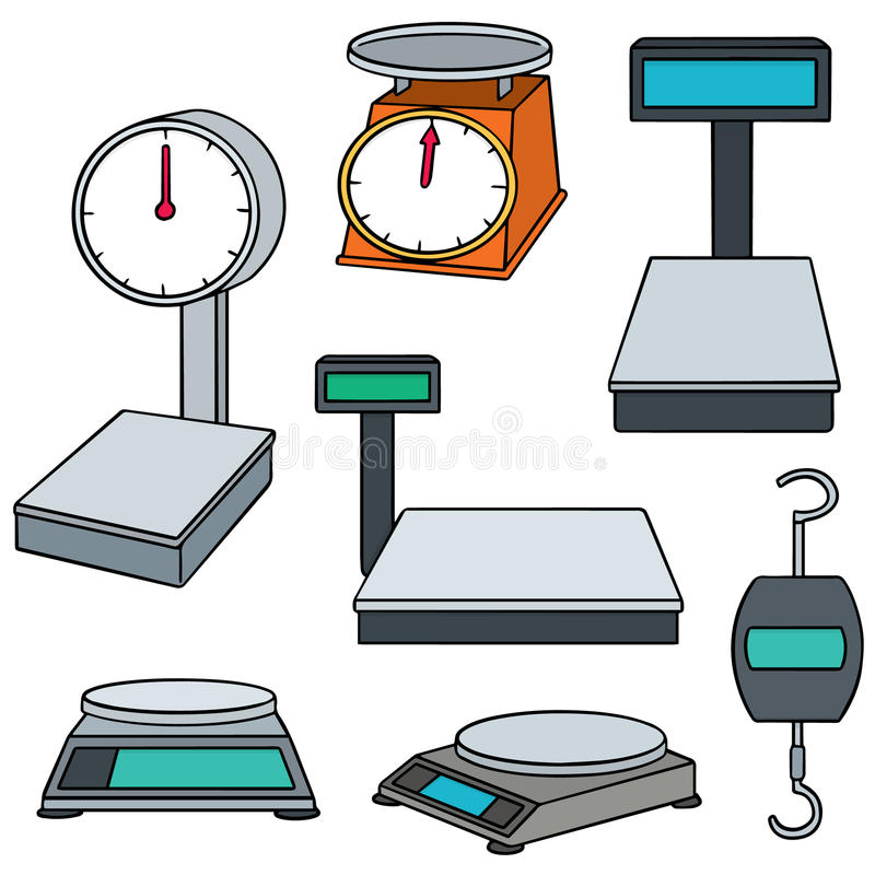 Weighing machine. Vector set of weighing machine vector illustration