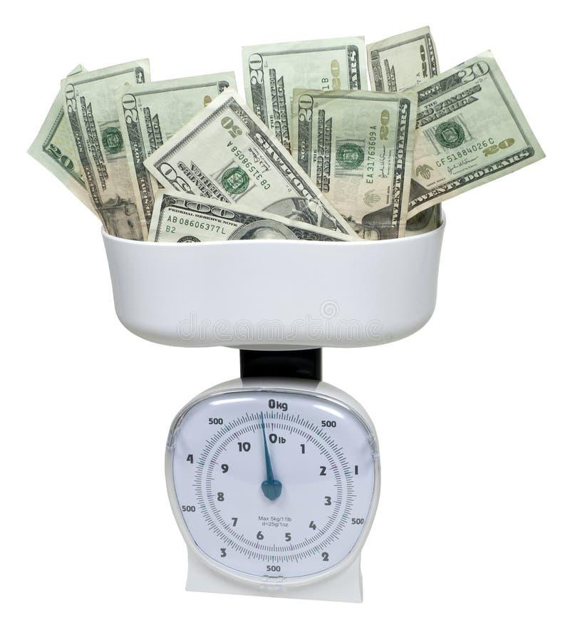Weighing Money stock image