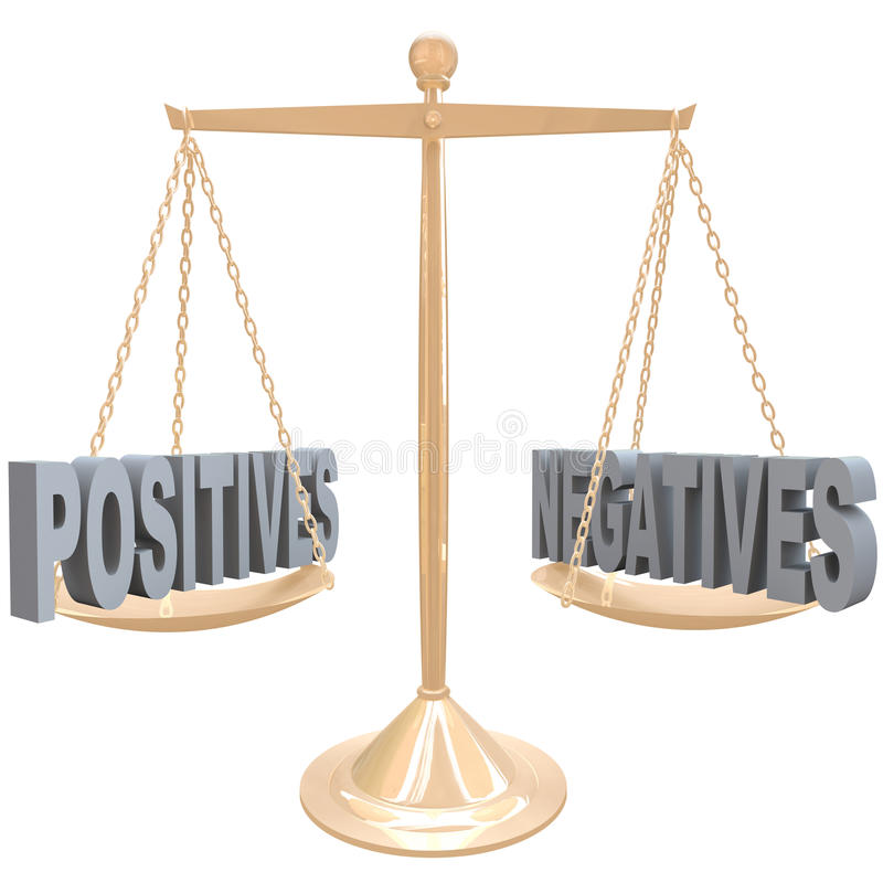 Weighing Positives And Negatives - Choices On Scale Stock Images