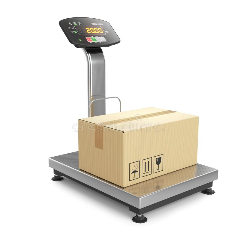 Weighing of postal parcel on scales 3d royalty free illustration