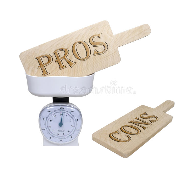 Weighing the Pros and Cons. Weighing pros and cons shown by pro and con wooden signs in a basket scale - path included stock photography