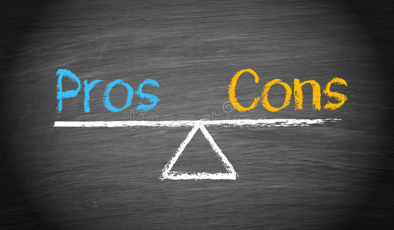 Weighing the pros and cons stock images