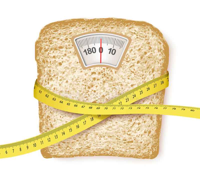 Weighing scales in form of a bread slice and measuring tape. royalty free illustration
