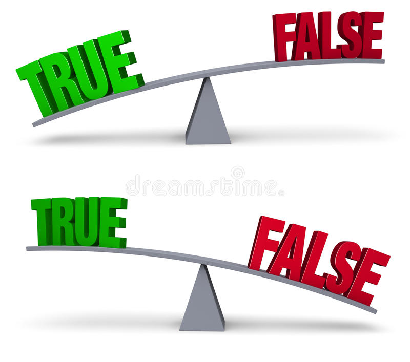 Weighing True Or False Set. A bright, green TRUE and a red FALSE sit on opposite ends of a gray balance board. In one image, TRUE outweighs FALSE in the other stock illustration