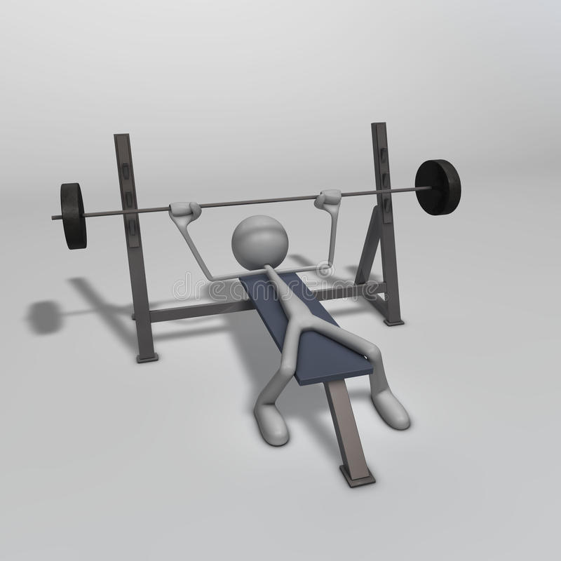 Weight Bench. A figure is training on a weight bench royalty free illustration