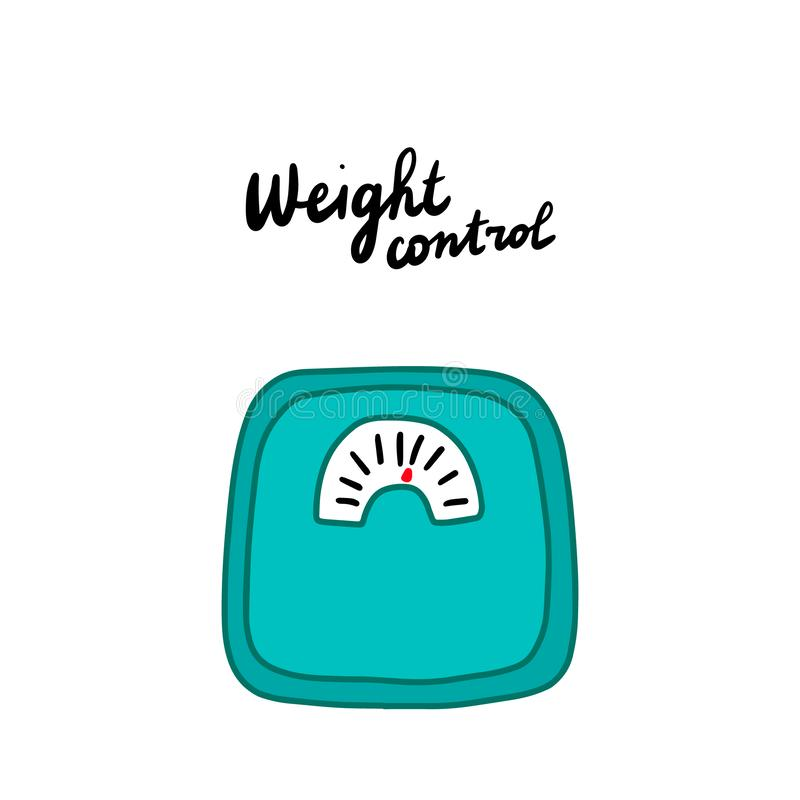 Weight control hand drawn vector illustration in cartoon comic style symptoms of menstrual periods stock illustration