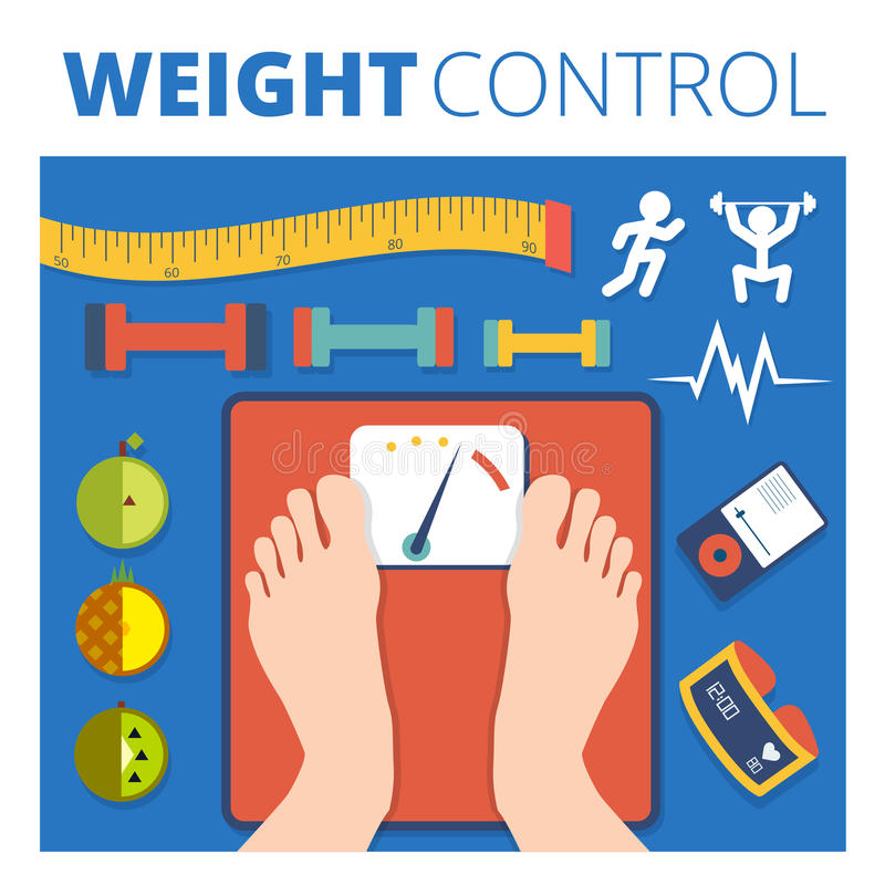 Weight control vector illustration design. Fitness and diet back royalty free illustration
