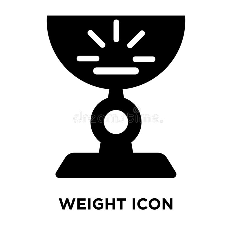 Weight icon vector isolated on white background, logo concept of. Weight sign on transparent background, filled black symbol royalty free illustration