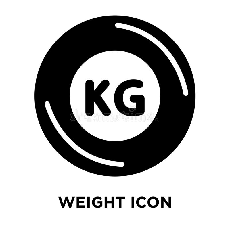 Weight icon vector isolated on white background, logo concept of. Weight sign on transparent background, filled black symbol stock illustration