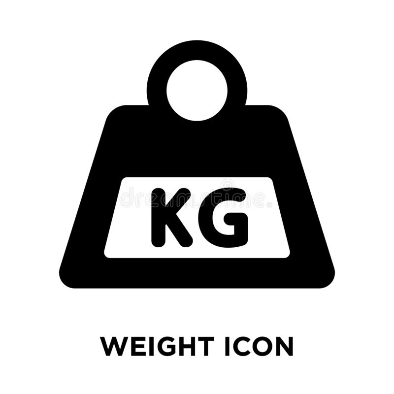 Weight icon vector isolated on white background, logo concept of. Weight sign on transparent background, filled black symbol vector illustration