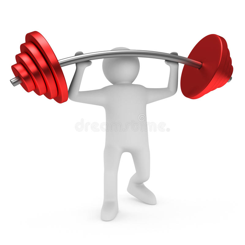 Download Weight-lifter Lifts Barbell On White Stock Illustration - Image: 29282062
