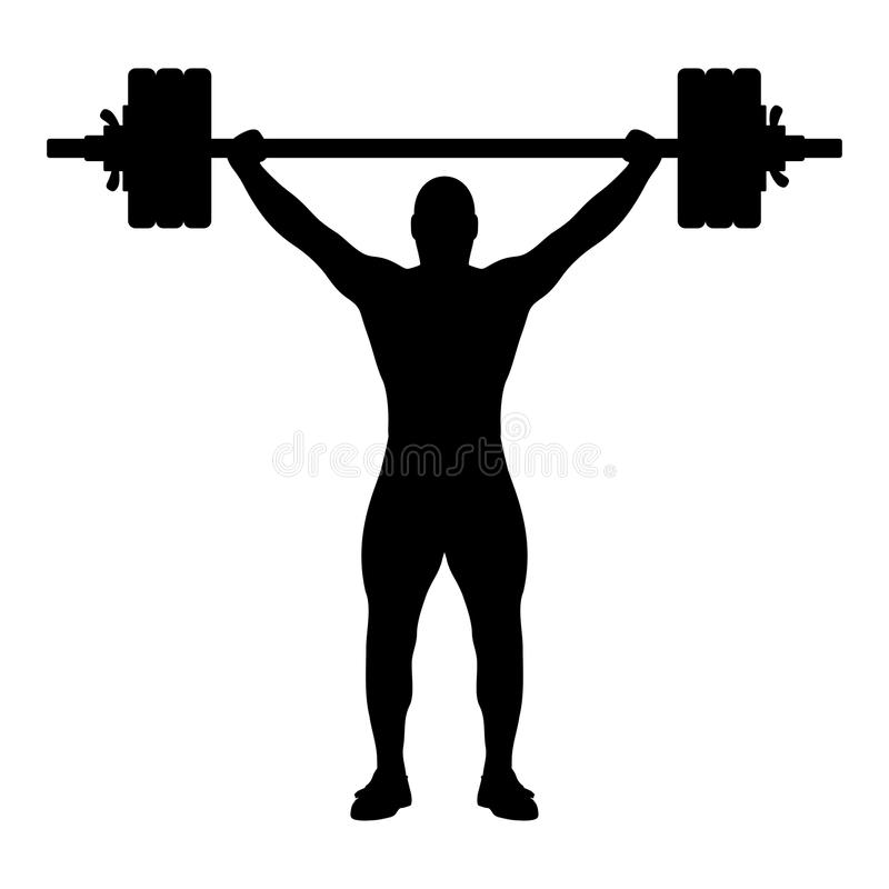 Weight lifter silhouette. Vector illustration of weightlifting black silhouette on white background. Editable EPS file available