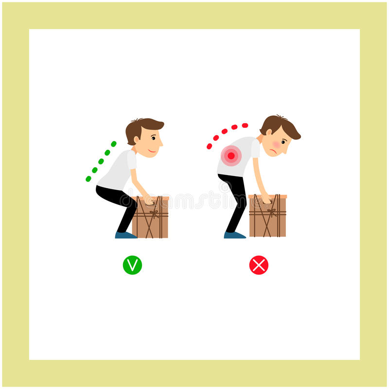 Weight lifting correct and incorrect posture royalty free illustration