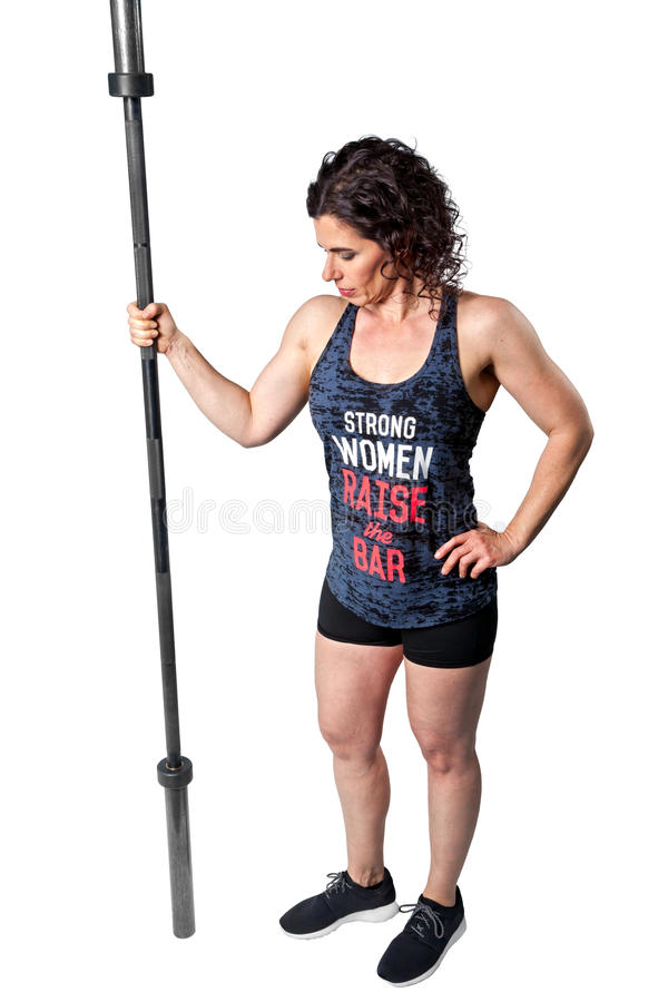 Weight Lifting Female Hold Barbell Sideways Full Length stock image