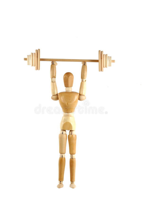 Weight lifting wooden manikin royalty free stock photography