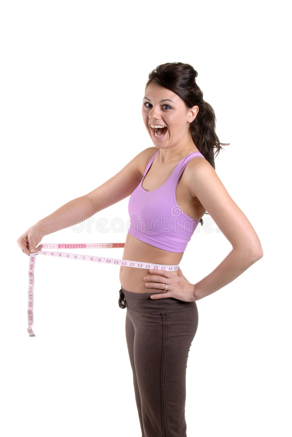 Weight Loss. Pretty Young Woman Teasing With A Tape Measure stock photography