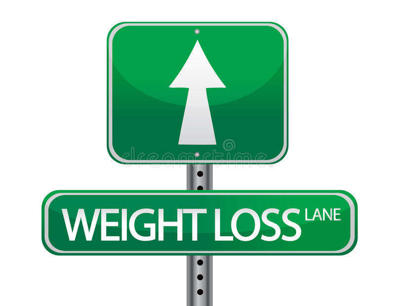 Weight loss. Green sign isolated over a white background stock illustration