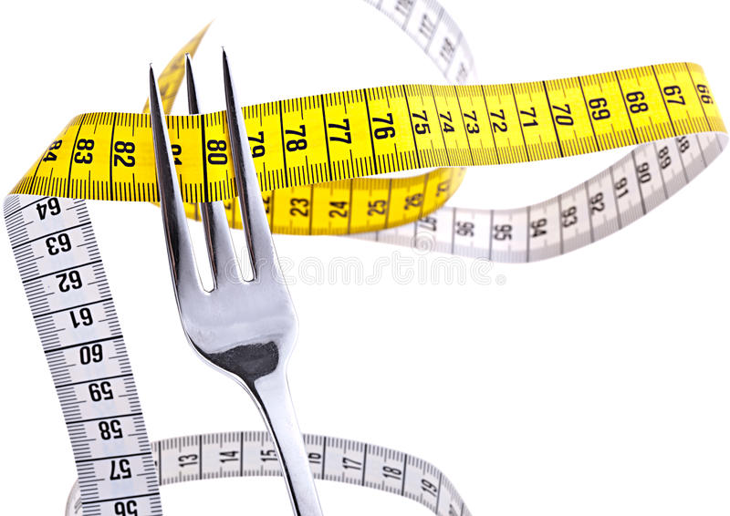 Weight Loss. Fork with measuring tape, isolated on white stock images