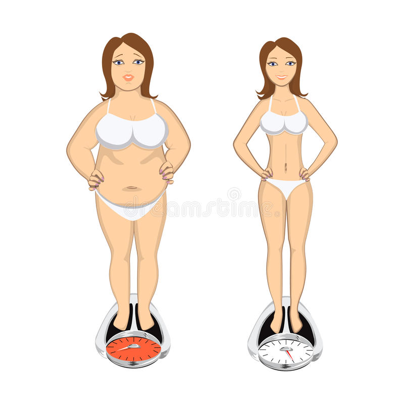 Before and after weight loss. Beautiful smiling young woman on scales. Fat and chubby beafore and slim and light after vector illustration