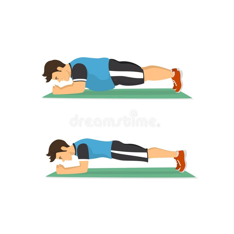 Weight loss concept, fat man exercising training in plank pose, before and after body mass index. Change stock illustration