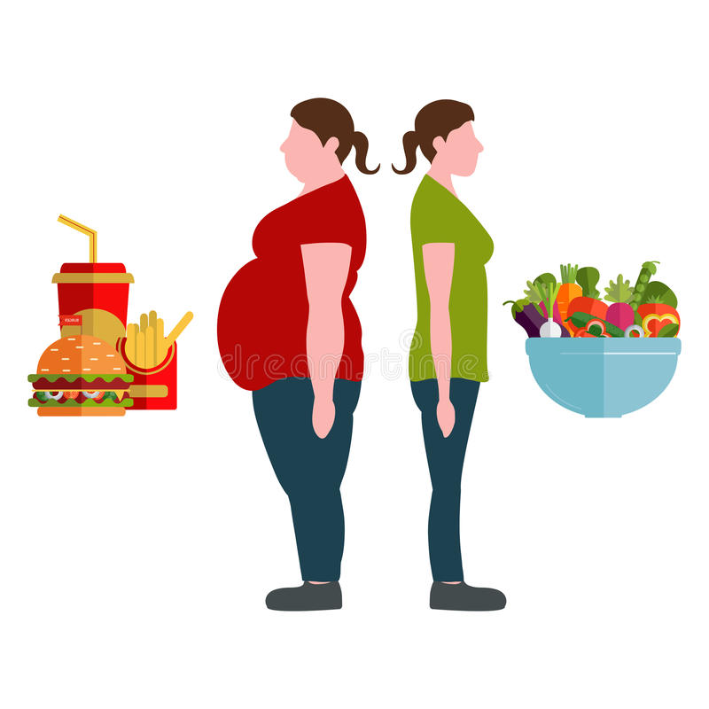 Weight loss concept. Vector illustration. Figures of women. Figures of women thick and thin. A plate with vegetables and fast food. Weight loss concept. Vector vector illustration
