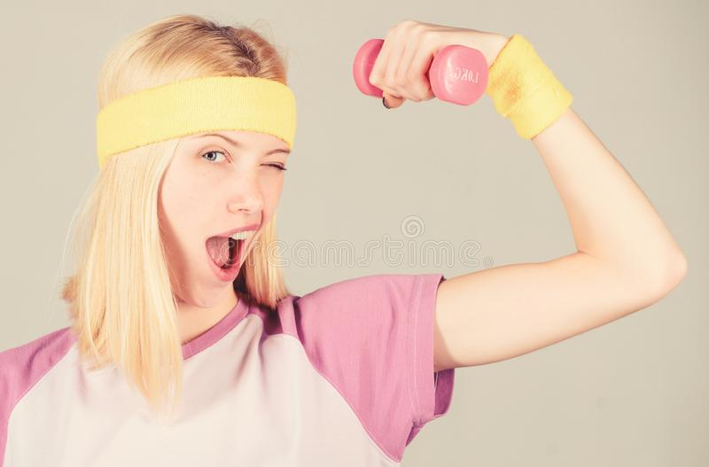 Weight loss concept. Woman workout in gym with sport equipment. Workout result. Woman fitness coach exercising with royalty free stock photography