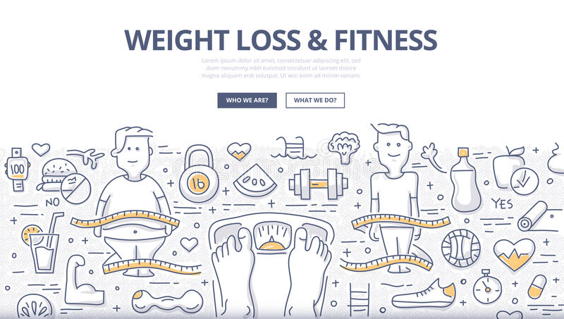 Weight Loss & Fitness Doodle Concept. Doodle design style concept of healthy lifestyle, controlling body mass weight, dieting and fitness. Modern line style