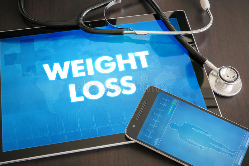 Weight loss (gastrointestinal disease related) diagnosis medical. Concept on tablet screen with stethoscope stock illustration
