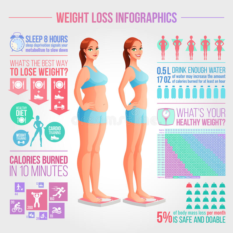 Before after weight loss illustration. Fitness and diet vector infographics. Woman standing on scale. Before and after weight loss illustration. Weight loss royalty free illustration