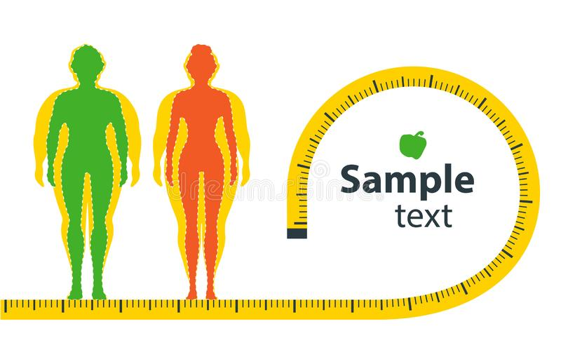 Weight loss. The influence of diet on the weight of the person. Man and woman before and after diet and fitness. Weight loss concept. Fat and thin man and woman stock illustration