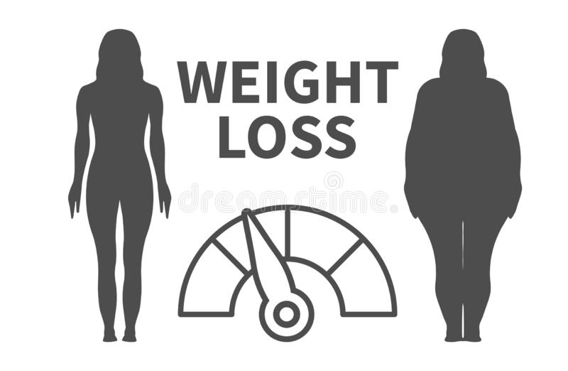 Weight Loss Infographic Vector Illustration with Woman Silhouette vector illustration