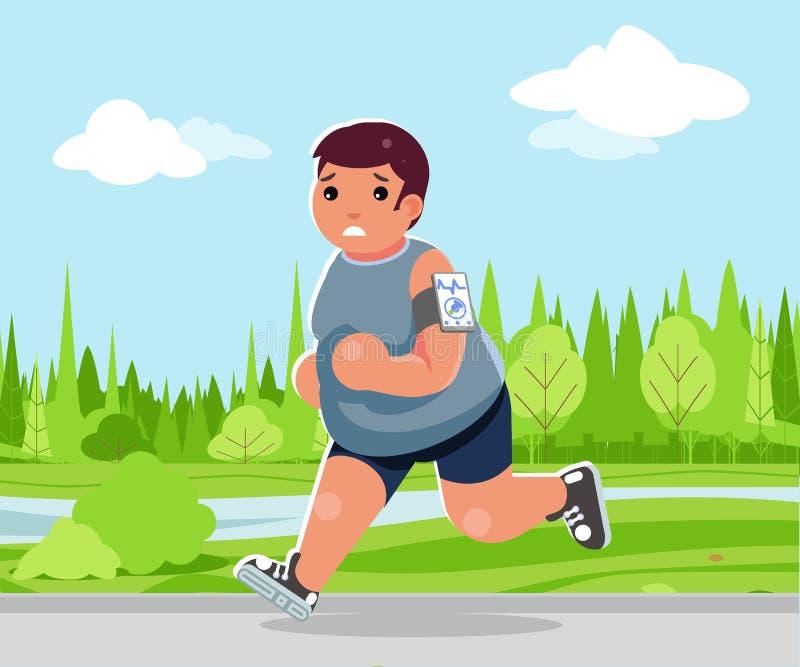 Weight loss outdoor running health care run park cardio app smartphone cartoon fitness character design vector vector illustration