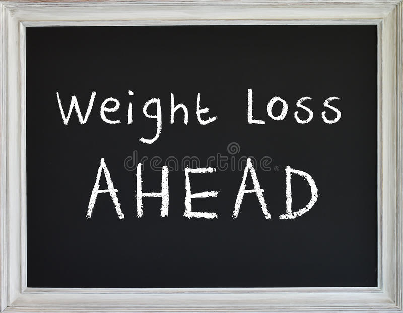 Weight Loss Sign on Black Chalk Board royalty free illustration