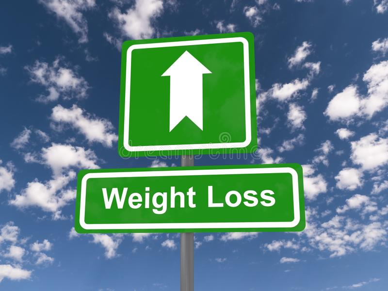 Weight loss sign. With directional arrow, blue sky and cloudscape background vector illustration